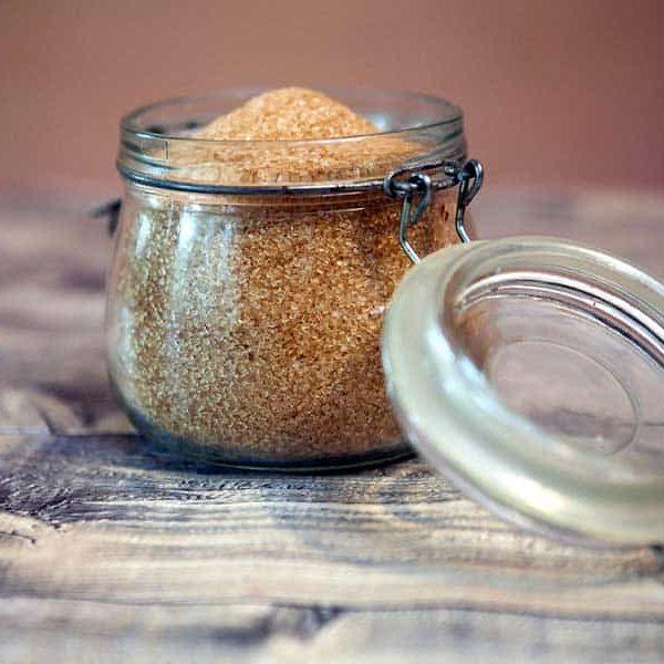 A jar full of sugar in the raw