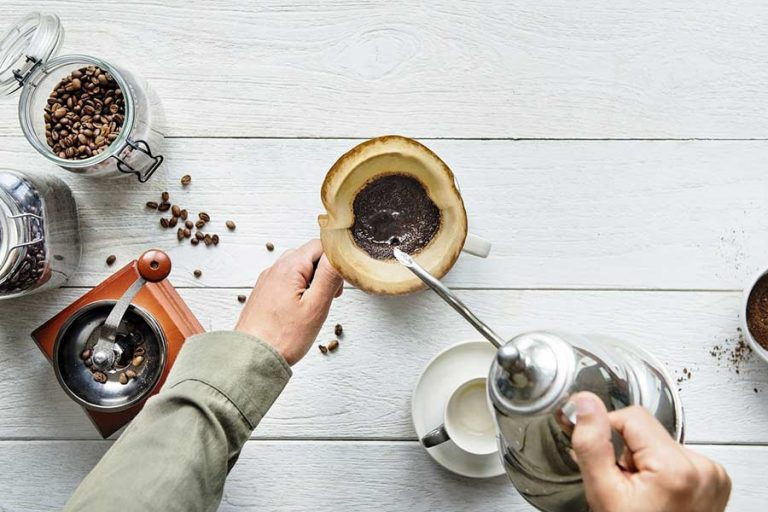 A man making pour over coffee