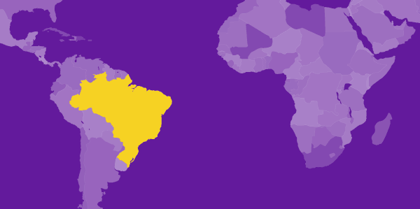 world map highlighting Brazil
