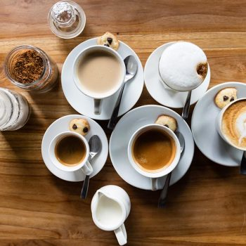 Different types of coffee on a table