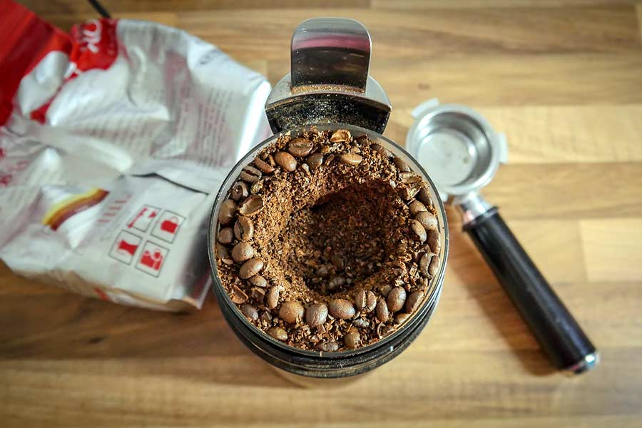 Coffee beans in a food processor