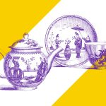 Drawing of a tea pot and plate